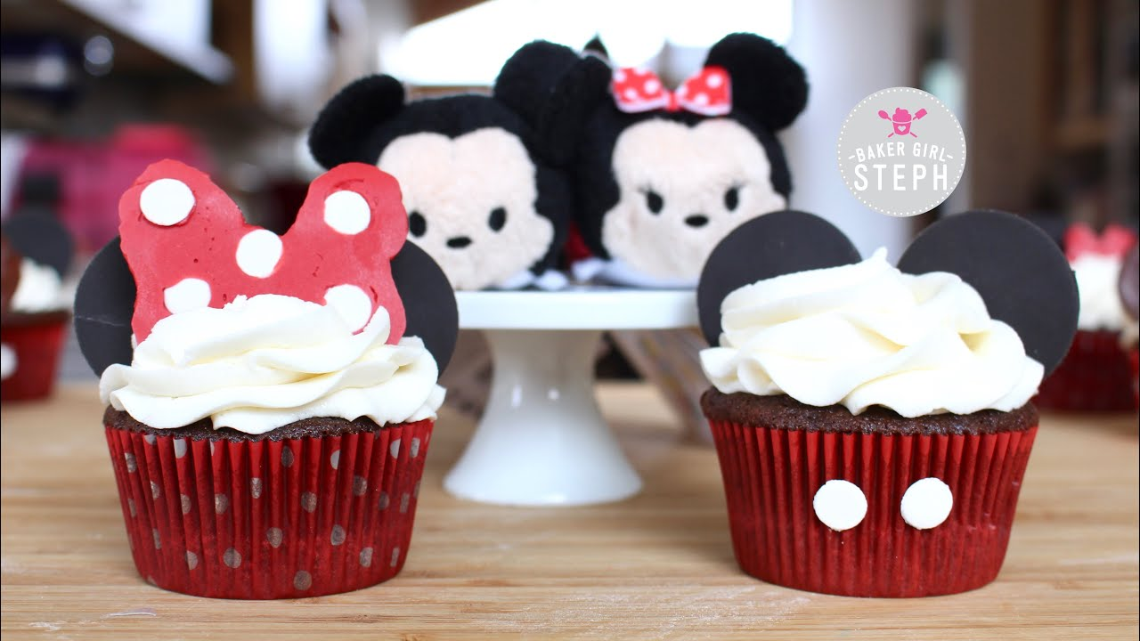 HOW TO MAKE MICKEY MOUSE AND MINNIE MOUSE CUPCAKES - YouTube