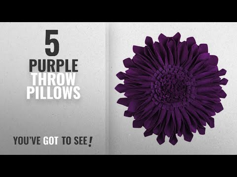 Top 10 Purple Throw Pillows [2018]: JW Handmade 3D Sun Flowers Accent Pillows Round Cushions For