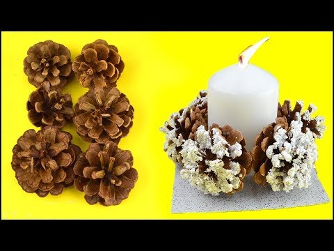 how-to-make-christmas-decor-with-frozen-pine-cones-|-candle-crafts-idea-for-winter-season