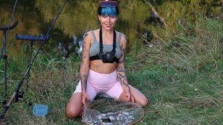 Рыбалка НА ПРОГОНЕ реки ФИДЕР Цыплёнок на углях ОТДЫХ на реке 271
