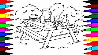 Colours For Kids Picnic Table Coloring Pages l How To Draw Picnic Food Drawing Pages l Learn Colors