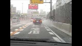 ゲリラ豪雨で阪神高速環状線がウォータースライダー 2012/08/18 thumbnail
