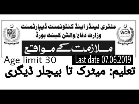 MINISYRY OF DEFANCW, NEW JOB IN PAKISTAN, MILTRY LAND &  ANTONMENT-DEPARTMENT JOB 2019