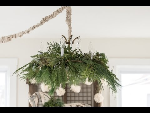 how to decorate a chandelier with fresh greenery for christmas miss mustard seed youtube