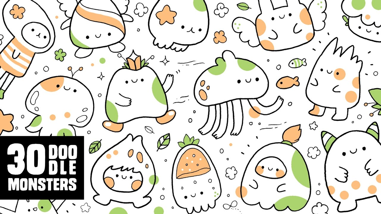 30 cute doodle monsters kawaii doodle characters for for Doodle characters