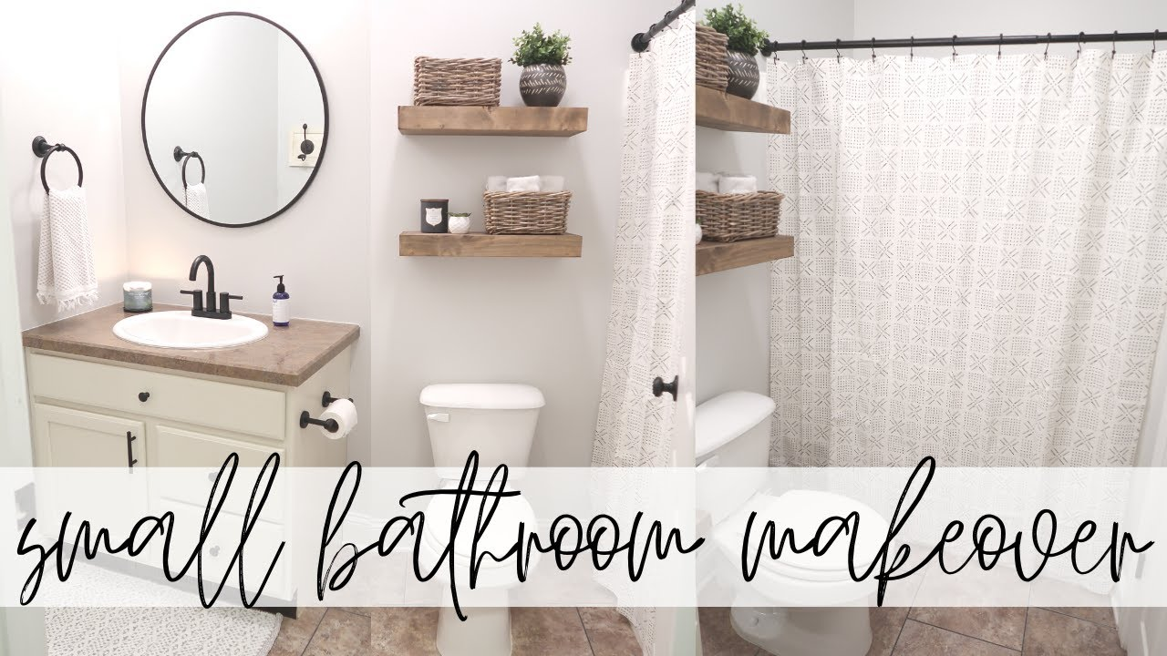 Small Bathroom Makeover Modern Farmhouse Bathroom Makeover Decorate With Me Youtube