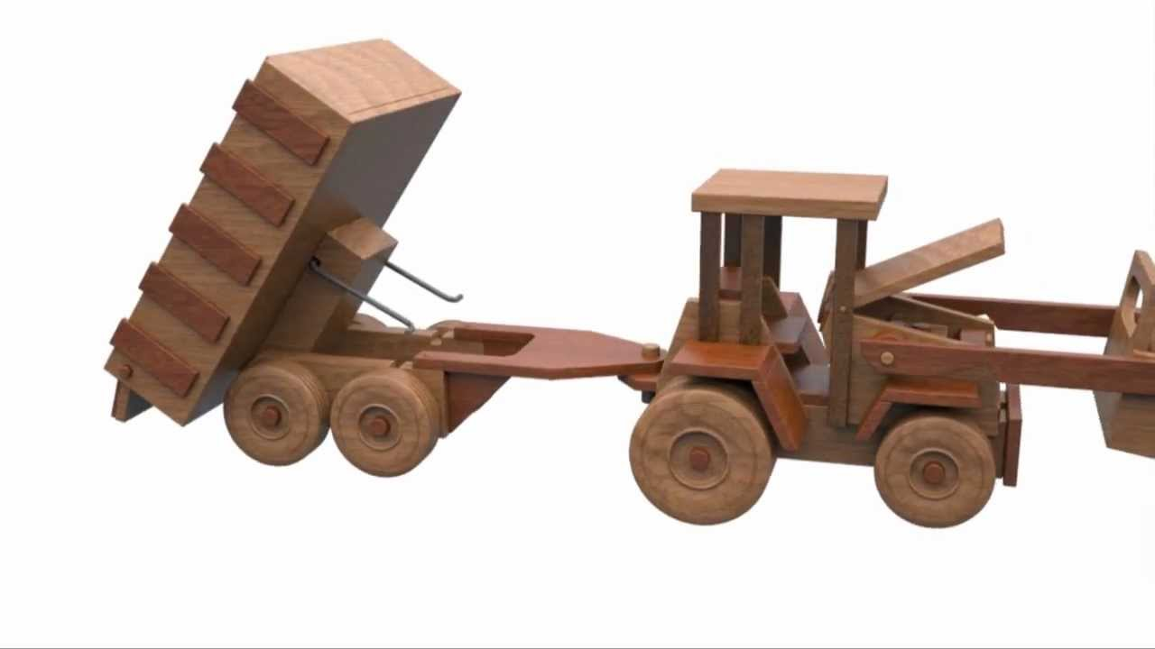wood toy plans - table saw - john deere farm tractor and grain dumper