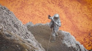 Volcano erupts as scientist takes selfie at craters base!!