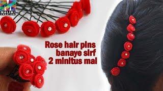 Tutorial for Rose hair U pins / Beautiful hair accessory
