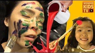 엄마 화났다! 웃기는 얼굴 물감놀이! 웃김주의 꿀잼 페이스페인팅 face painting play for children & kids l 원더키즈tv