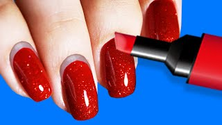 46 BEAUTY HACKS FOR GIRLS || NAIL AND MARKER IDEAS