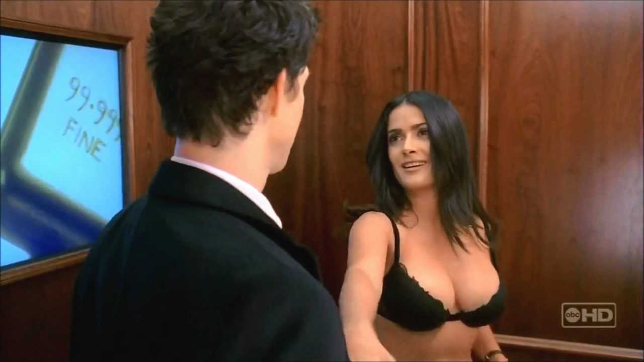 salma hayek - big boobs - ugly betty - in black bra hd video must