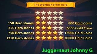 Juggernaut Wars - Evolution of the hero from 1 to 5 stars