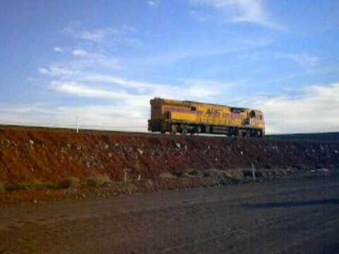 Train passes 'Sons of Gwalia' gold mine...Leonora...Western Australia..April 2012