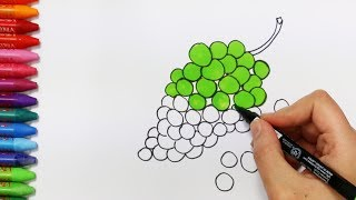 Wie zeichnet man Trauben | Zeichnen und Ausmalen für Kinder