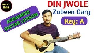 Din Jwole Rati Jwole (Mission China) | Zubeen Garg song | Assamese  guitar tutorial