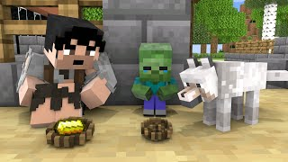 Monster School : Dog and Baby Zombie - Sad Story - Minecraft Animation