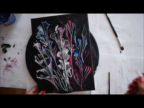 String Painting Technique | Fluid Painting | Abstract Painting | Floral String Art | Jasvir Kambo