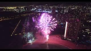Hilton Hawaiian Village Friday Night Fireworks - DJI Phantom 3 Professional