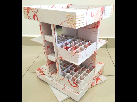DIY ROTATING MAKEUP ORGANIZER using cardboard - upcycle / best out of waste