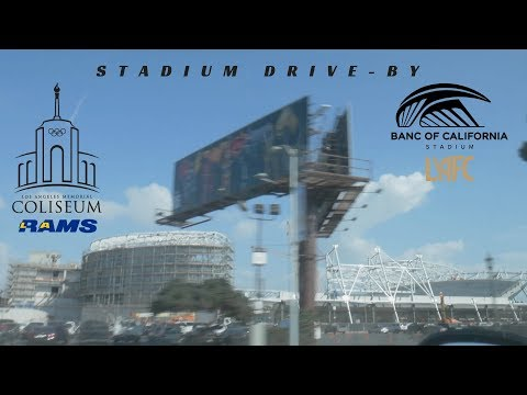 LA Coliseum Banc of California Stadium  LAFC Oct. construction | MLK blvd drive-by
