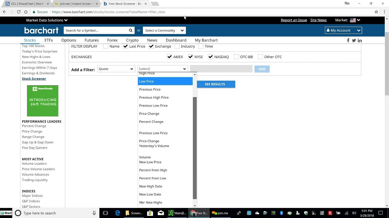 Barchart Stock Screener Setup and Using Barchart Scanner