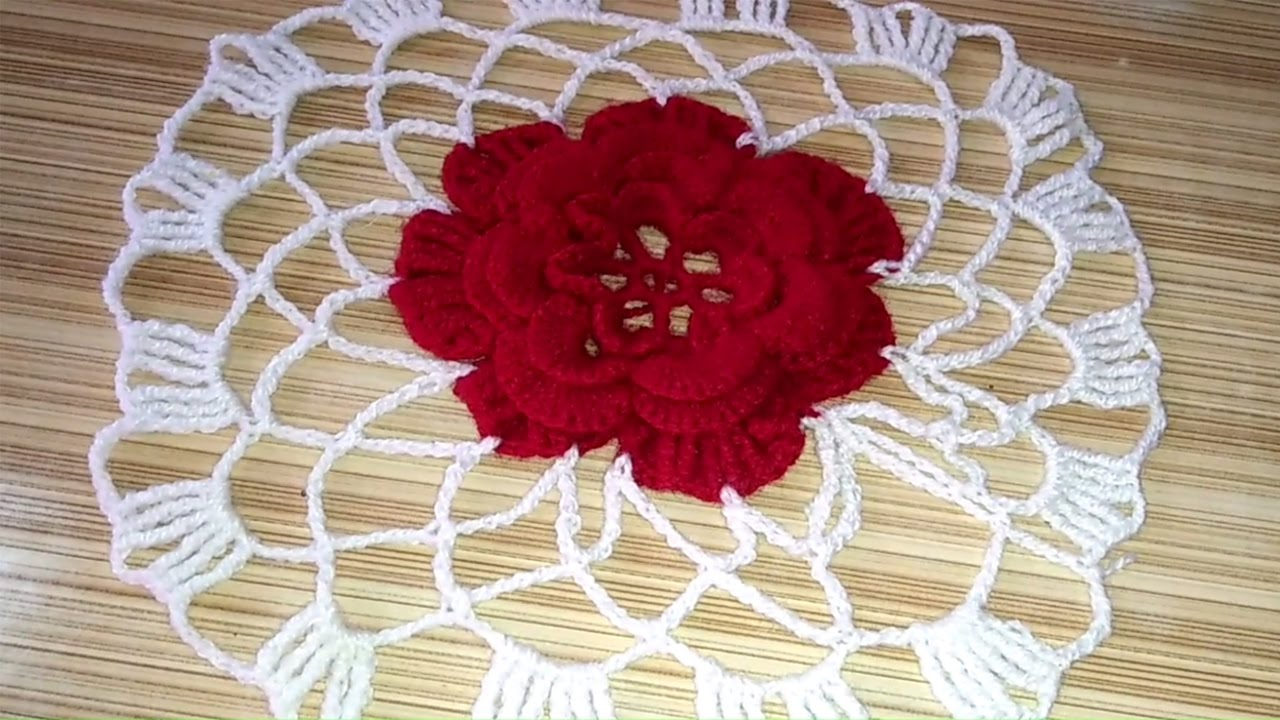 Handmade table mats design - Crochet Woolen Table Mat Woolen Table Mat Making How To Crochet Round Table Mat