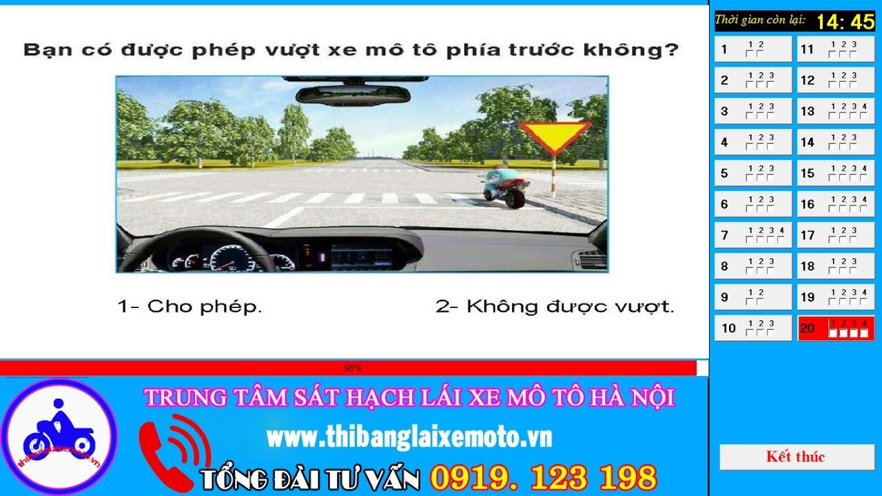 Phần mềm thi bằng lái xe máy hạng A1   Tổng cục đường bộ Việt Nam