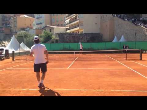 Rafael Nadal forehand drill with coach 2017 Monte Carlo