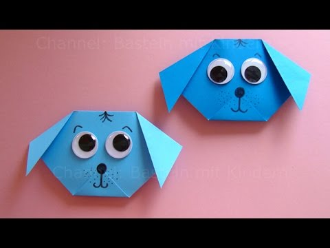 origami hund falten mit papier einfachen hund basteln. Black Bedroom Furniture Sets. Home Design Ideas