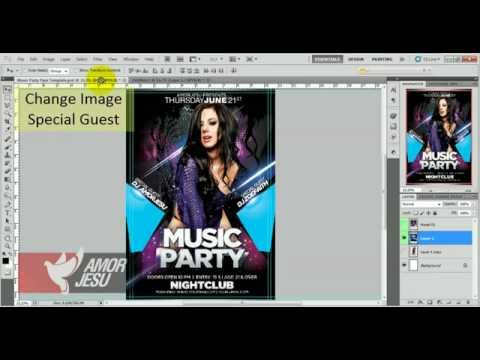 Music Party Flyer Template - Tutorial how to edit