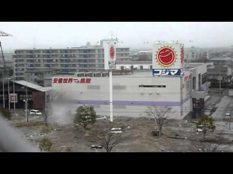 New video of Tsunami invading the Port of Sendai #2 [stabilized] - Japan earthquake 2011
