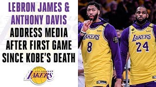 LeBron James & Anthony Davis address media after Lakers' 1st game since Kobe's death| CBS Sports HQ