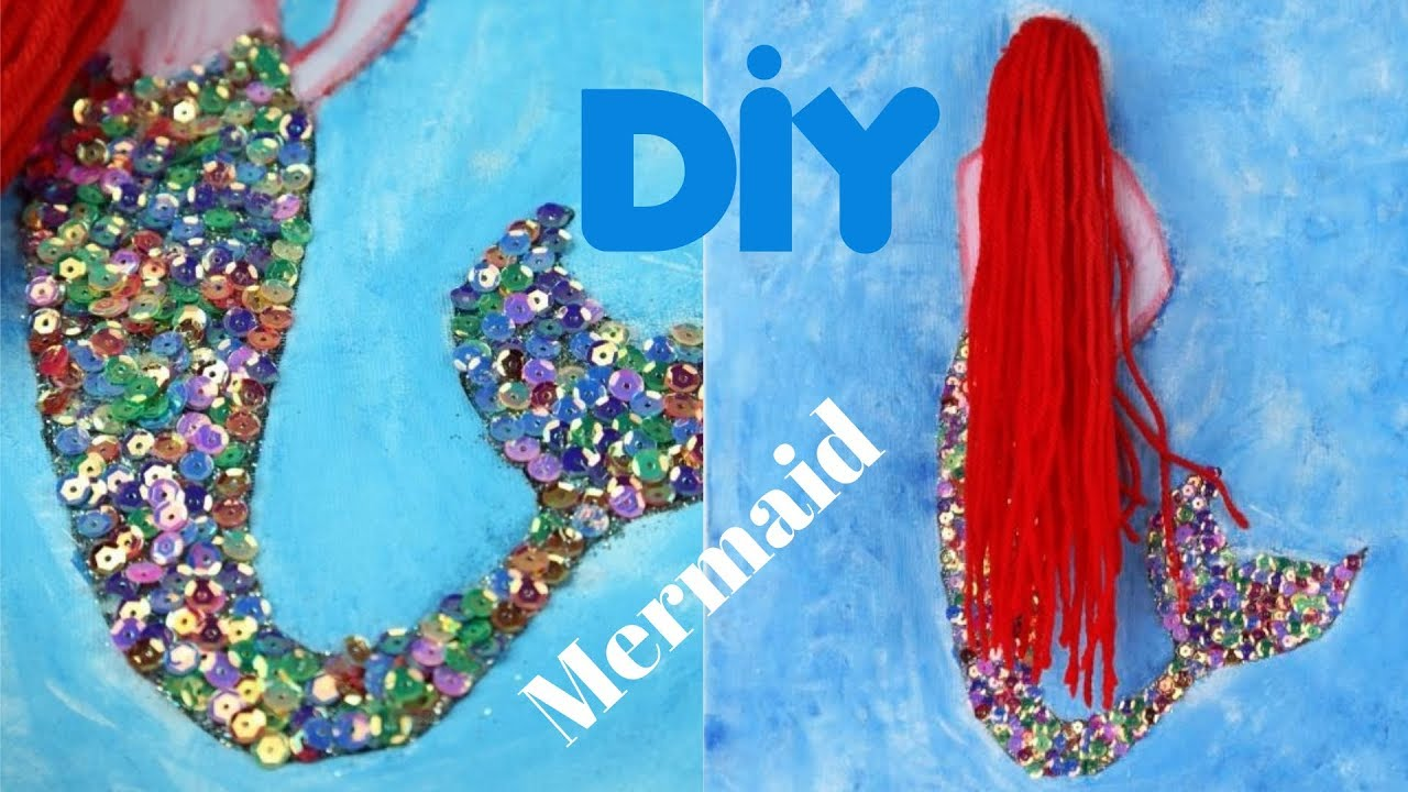 Diy Wall Decor Mermaid Canvas Art Youtube