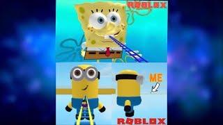 Riding a cart into a minion (and spongebob?) | Roblox