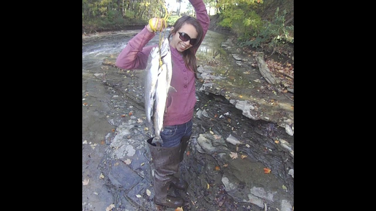 Steelhead fishing video abby 39 s first steely in four mile for Erie pa steelhead fishing report