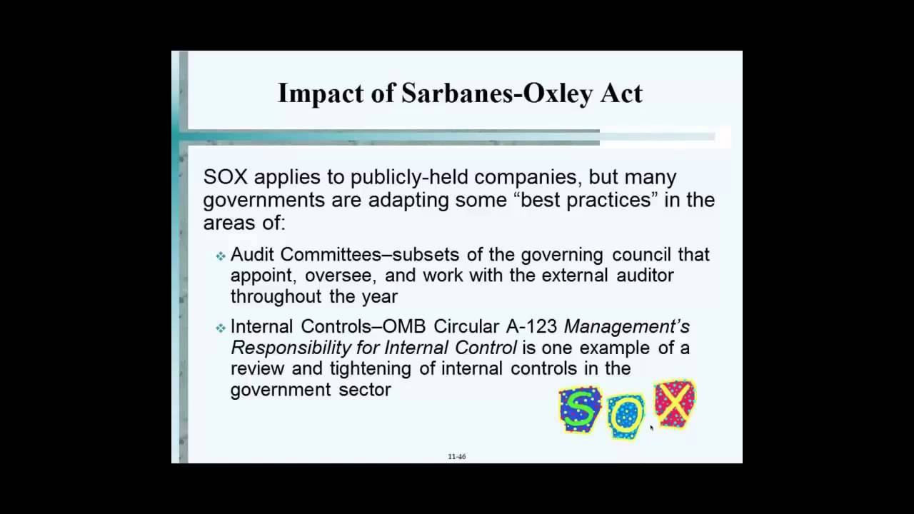analysis of the sarbanes oxley act Sarbanes-oxley essential information read our editors' summary of the the impacts of the act (especially sections 302 and 404), here what the term 'sarbanes-oxley' stands for senator paul sarbanes and representative michael oxley, who drafted the sarbanes-oxley act of 2002.