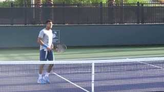 Indian Wells Tennis 2014 - Jo-Wilfried Tsonga funny missing volley practice