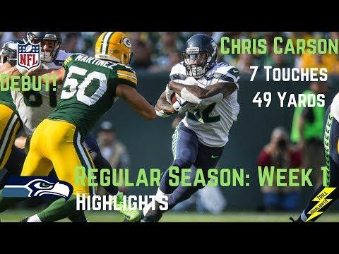 Chris Carson Week 1 Regular Season Highlights Potential Starter   9/10/2017