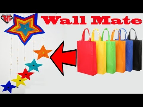 How To Make Wall Hanging With Waste Material || Shopping Tote Bags Recycled Wall Decoration Ideas