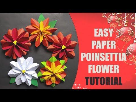 Easy Paper Poinsettia Flower Tutorial
