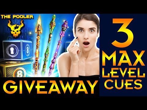 New 8 Ball Pool Hot Giveaway 3 Max Level Legendary cues + 54 Million Coins 2018 | Miniclip  🔥🔥🔥