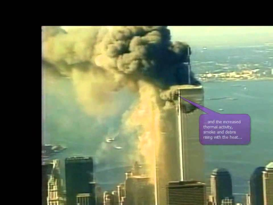 9 11 Wtc North Tower Explosion While Plane Hits South