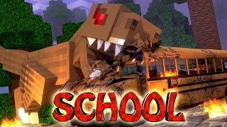 Minecraft School | Military School of Mods - T-REX EATS STUDENTS (Dinosaurs)