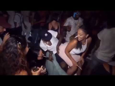 Guy grinding on girl at party, native girl naked in water
