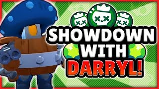 BRAWL STARS! - MAXED DARRYL SHOWDOWN GAMEPLAY! - HOW TO PLAY DARRYL ON SHOWDOWN!