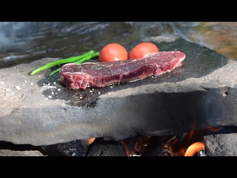 Kobe Beef Steak! Primitive Cooking Meat on a Rock in the Forest