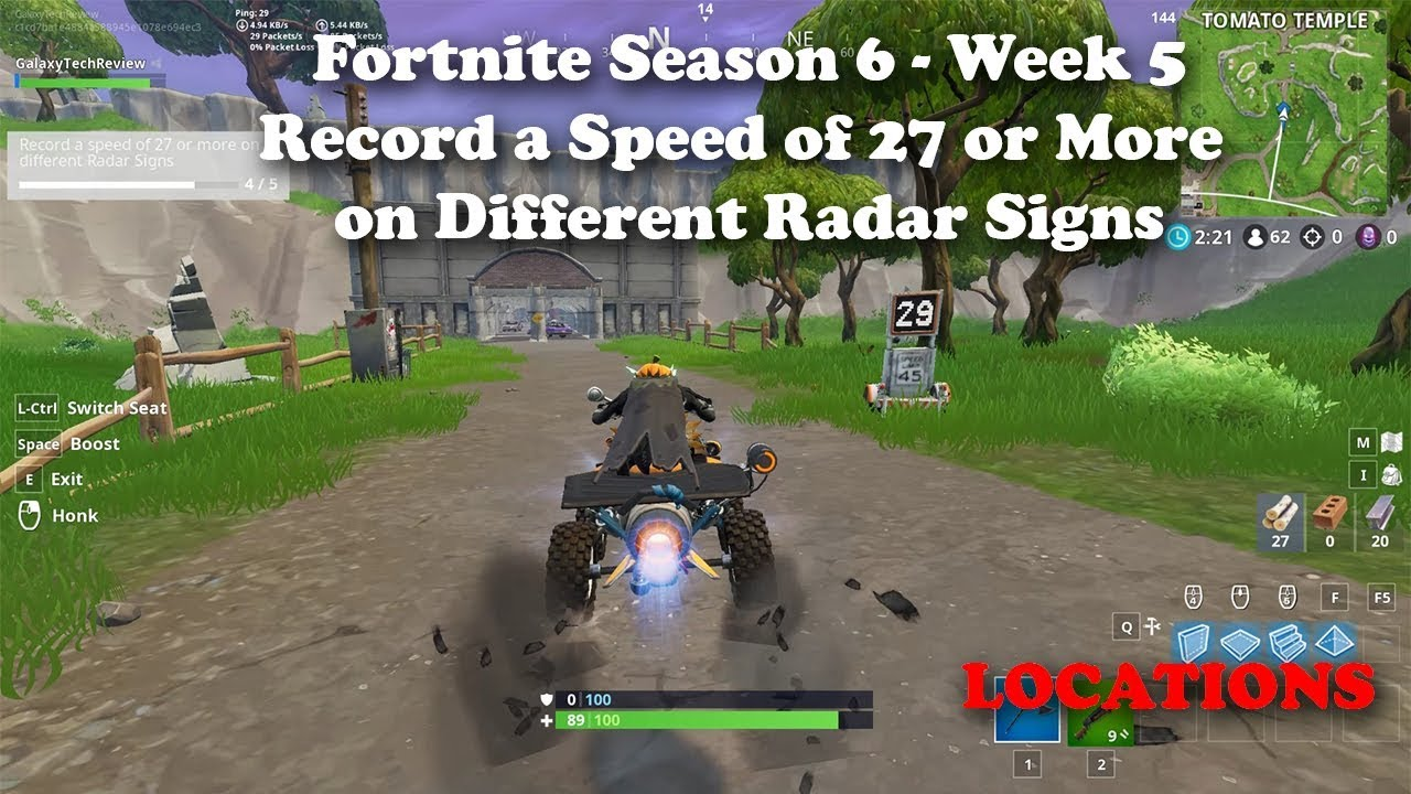 Fortnite - Season 6 - Week 5 - Record a Speed of 27 or ...
