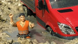BRUDER TOYS car MUD stuck! | Kids video