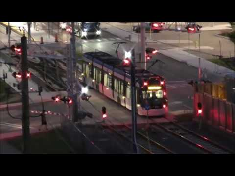 Night video of ION tram train Kitchener leaving Fairview Station to downtown - June 05, 2020